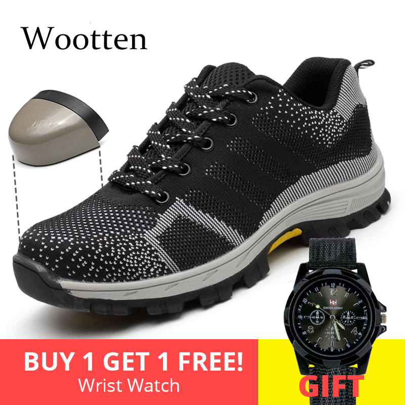 Plus Size Men Safety Shoes Stab-resistant Cap Toe Steel Breathable Construction Outdoor Indestructible Work Shoes #YN808
