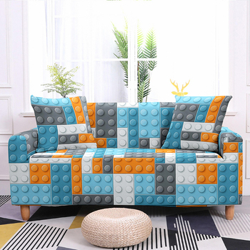 Colorful Block Pattern Elastic Slipcovers Sofa Universal Sofa Cover Stretch Sectional Couch Cover Sofa Cover For Living Room 11