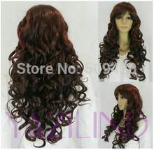 p5983Q>>>New Ladies Fancy Dress Cosplay Hair Wig Long Curly Wavy Loose Brown Costume Wig(China)