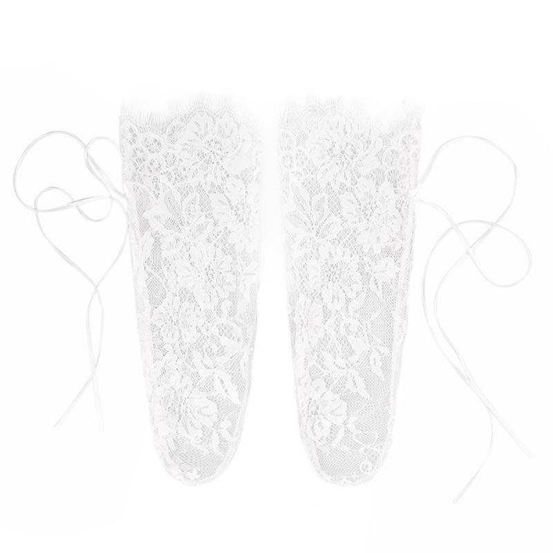Women's Luxurious Eyelash Lace Ribbon Socks Transparent Floral Lace Socks Mesh Bow Fishnet Sock Sox Hosiery