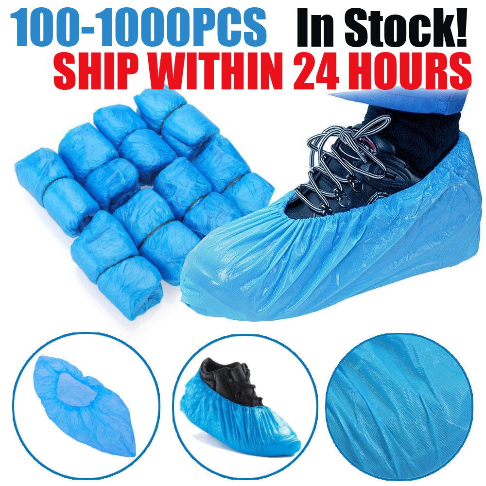 100-1000PCS Hot Sale Medical Waterproof Anti Slip Boot Covers Plastic Disposable Shoe Covers Overshoes Safety Drop Shipping