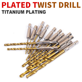 цена на 13pcs HSS High Speed Steel Twist Drill Titanium Coated Drill Bit Set 1/4 Hex Shank 1.5-6.5mm
