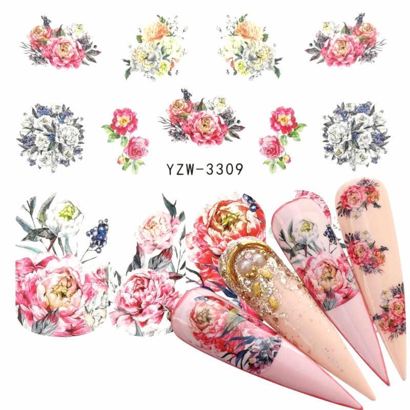 1 PC Panda Rose Blume Wasser Transfer Nagel Kunst Aufkleber Schönheit Rosa Ahornblatt Aufkleber Nägel Kunst Dekorationen
