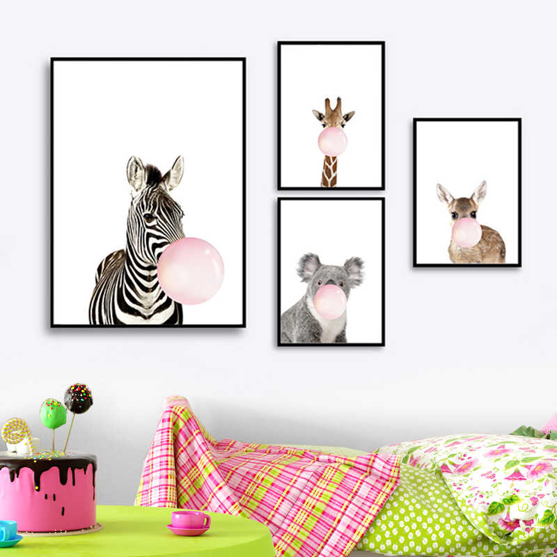Giraffe Zebra Animal Posters and Prints Canvas Art Painting Wall Art Nursery Decorative Picture Nordic Style Kids Decoration