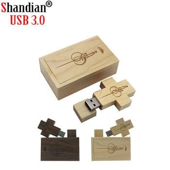 SHANDIAN free custom logo photography wedding gift solid wood cross USB+BPX USB 3.0 64GB 32GB 16GB 8GB 4GB USB flash drive