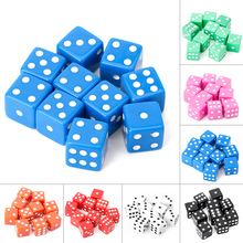15mm Multicolor Acrylic Cube Dice Beads Six Sides Portable Table Games Toy 10pcs/set