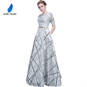 DEERVEADO YS406 Long Prom Dresses Short Sleeves Prom Gown with Sashes Formal Dress Women Evening Party Dresses