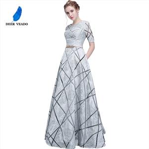 Image 1 - DEERVEADO YS406 긴 댄스 파티 드레스 정장 드레스와 짧은 소매 댄스 파티 드레스 여성 이브닝 드레스