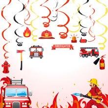 Conjunto de decorações de festa de bombeiro diy espiral ornamentos redemoinho decorações tema fogo fontes de festa crianças decorações de aniversário