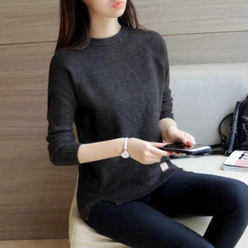 캐주얼 2020 가을 겨울 여성 스웨터와 풀오버 솔리드 긴 소매 여성 니트 스웨터 Femme 풀오버 탑 M-2XL