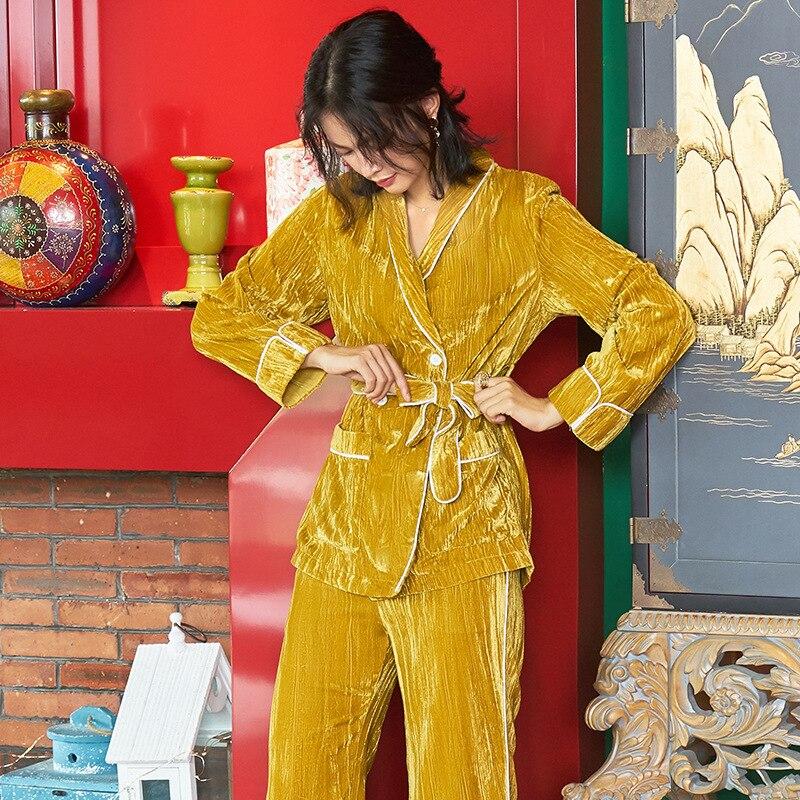 Women's Winter Korean Cute Turmeric Cloud Pyjama Long-sleeved Pajamas Winter Warm Thick Home Wear Set Plus Size Soft Sleepwear 15