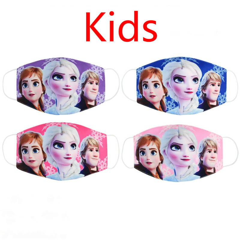 2020 Pure Cotton Girls Anna Elsa Face Masks  Kids Fashion Dust-proof Breathable Anti-fog Mouth Mask Cotton Cover Snow Queen