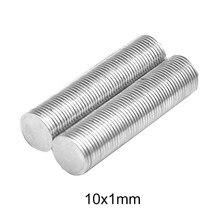 Imán delgado de neodimio fuerte, disco magnético permanente, redondo, 10x1mm, 10X1mm, 50 ~ 1000 Uds.