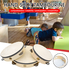 """""""2Pcs 6""""""""/8""""""""/10"""""""" Tambourine  Wood Handheld Drum Percussion Musical Instrument For Party Dancing Games Gift For Kids Adults Friends"""""""