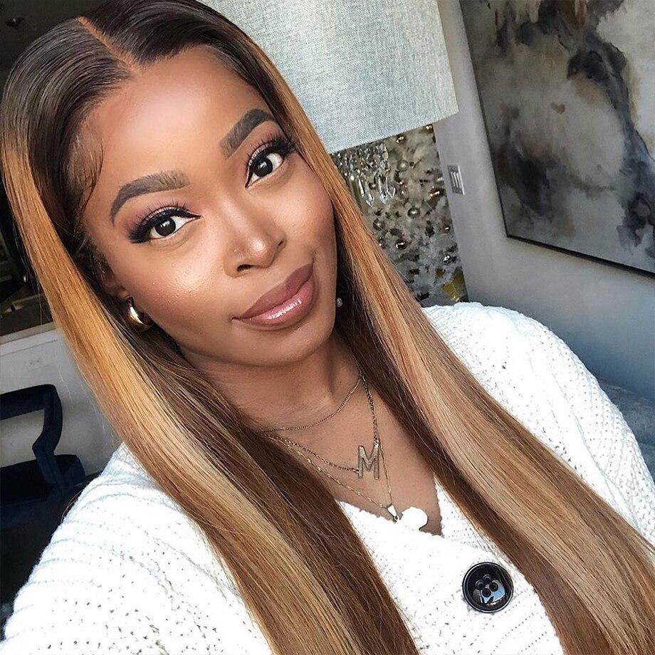Peluca de cabello humano con cierre de encaje degradado para mujeres negras, reflejos de colores, naranja, jengibre, Frontal corto, 4x4 Bob