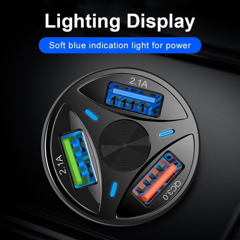 3 Ports Car Charger Quick Charge Fast Car Cigarette Lighter USB Car Charger Interior Accessories