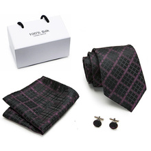 New Design 8cm Plaid Striped Tie Set Jacquard Woven Mens Necktie Gravata Hanky Cufflinks for Wedding Party