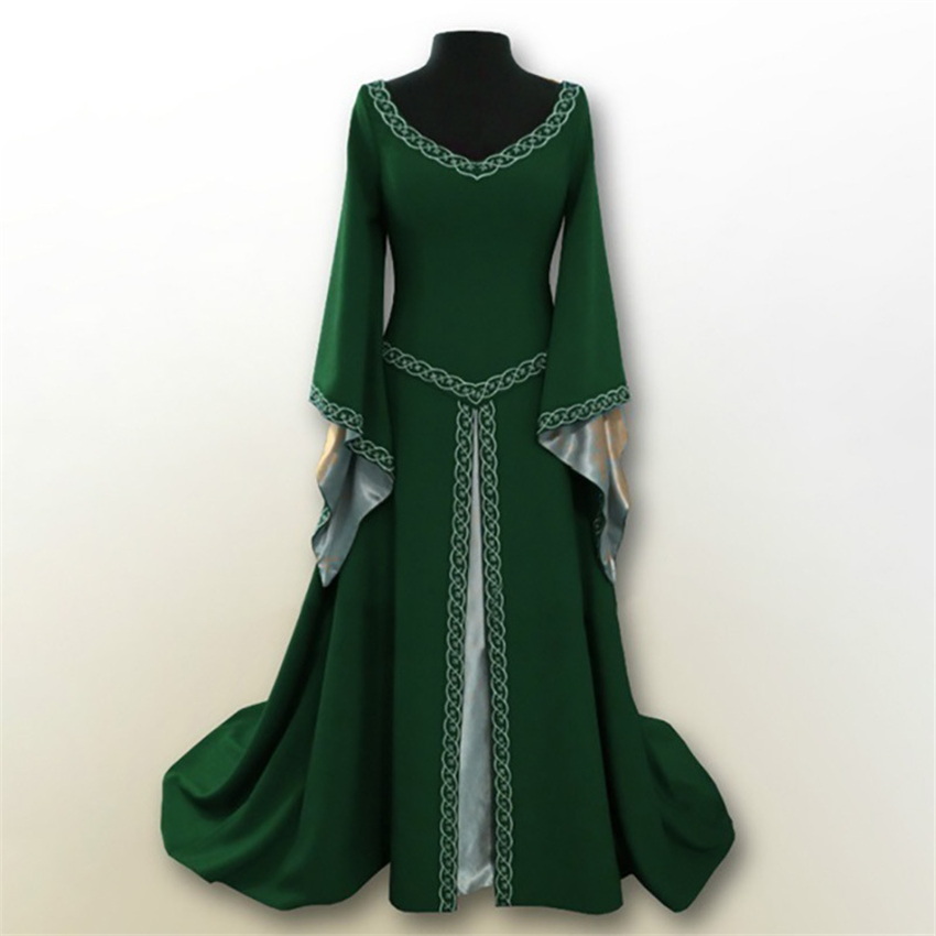 6Color Women 18th Century Medieval Costumes Mid Modern Long Dress For Woman Cosplay European Party Traditional Retro Dresses