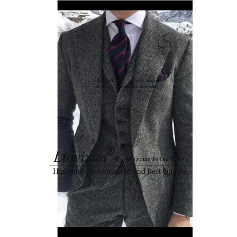 Herringbone Tweed Grey Men Suit Formal Business Groom Wedding Suits For Men Ternos Tweed Jacket 3 Piece Men Tuxedo 2020