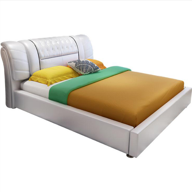 Modern European Solid Wood Bed Fashion Carved  Leather  French Bedroom Furniture Jq001