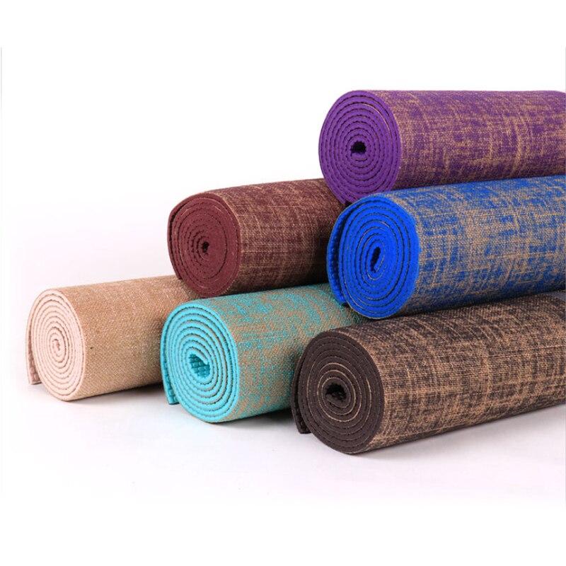 6MM PVC Yoga tapis anti-dérapant couverture gymnastique Sport santé perdre du poids Fitness exercice tapis femmes Sport Yoga tapis LinenYoga tapis