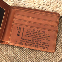 To My Husband Custom Leather Wallet for men,Personalized RIFD Blocking Silm Money Clips,Gift for Men on Birthday,Anniversary