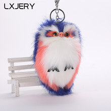 LXJERY 8 Colors Fluffy Owl Key Chain Women Car Bag Key Ring Lovely Pompom Keyring Toys Artificial Rabbit Fur Keychain(China)