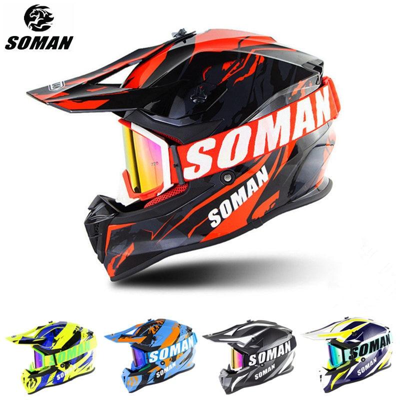 SOMAN Motocross Helmet Goggles Casco Dirt-Bike Racing MX SM633 Dh