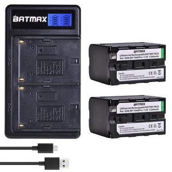 Batmax 2pcs NP-F970 NP-F960 NPF960 Battery with LED Indicator +LCD USB Dual Charger for Sony PLM-100 CCD-TRV35 MVC-FD91 MC1500C