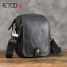 AETOO genuine Leather Messenger Bag casual vintage Original Phone Pocket Shoulder Mini Mens Soft Small