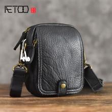 AETOO genuine Leather Messenger Bag casual vintage Original Phone Pocket Shoulder Mini Mens Soft Small
