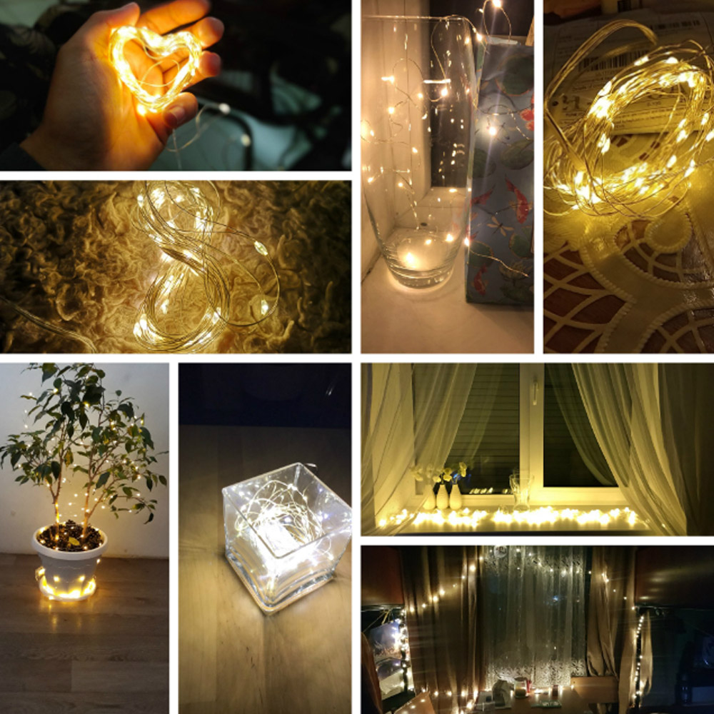 White Warm LED Copper Wire String Fairy Light 10M 3M 2M 1M Garland Xmas Wedding Party Decor Powered By Battery USB LR44 CR2032