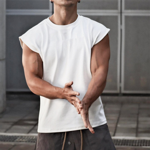 Men Tank Top Broad Shoulder Vest Casual Loose  Mens Crop Top Workout  Exercise Clothing Sleeveless Shirt 1