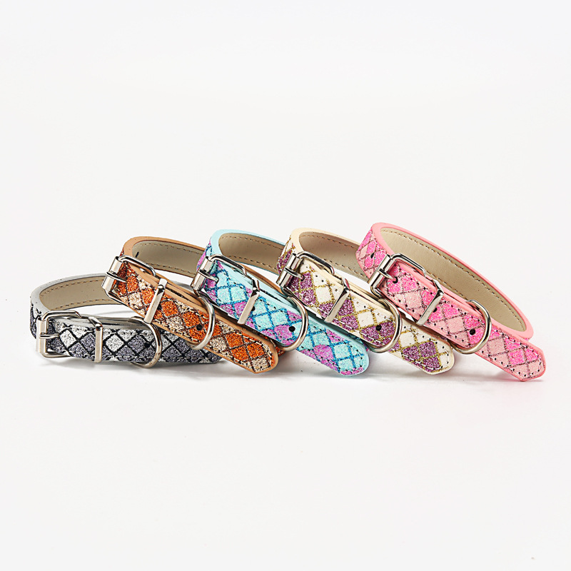 Plaid Multi-color Pu Hand Holding Rope Pet Supplies Dog Neck Ring Teddy Cat Neck Ring Collar