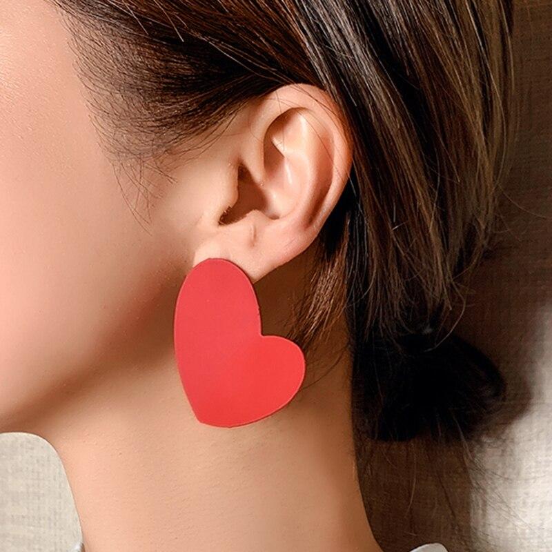AENSOA 2020 Korean Big Red Heart Earrings For Women Fashion Sweet Fold Heart Statement Pendant Earrings Party Jewelry Gift