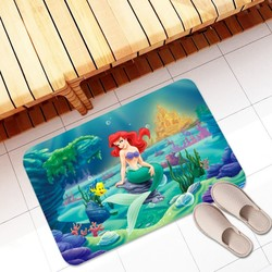Tapete de banho de flanela tapete de banheiro tapete de porta a pequena sereia cozinha tapetes quarto piso absorvente ao ar livre capacho