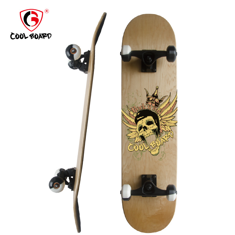 Factory Wholesale Beginners Double Snubby Type Maple Skateboard Adult For Kids Four Wheel Skateboard Customizable Processing