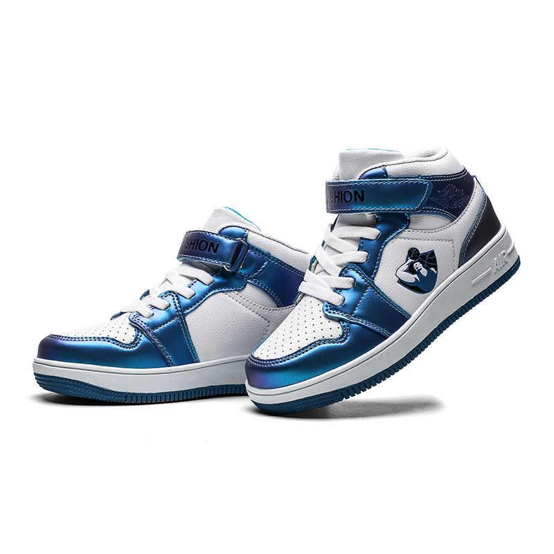 2019 yeni erkek kız darbeye dayanıklı spor mavi genç Sneakers yansıtıcı renk eğilim moda çocuk ayakkabıları erkek Jordan ayakkabı
