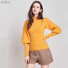 ARTKA Осень Зима женский свитер сплошной цвет элегантный тонкий свитер с высоким воротом винтажные свитера с рукавами-фонариками YB11897D