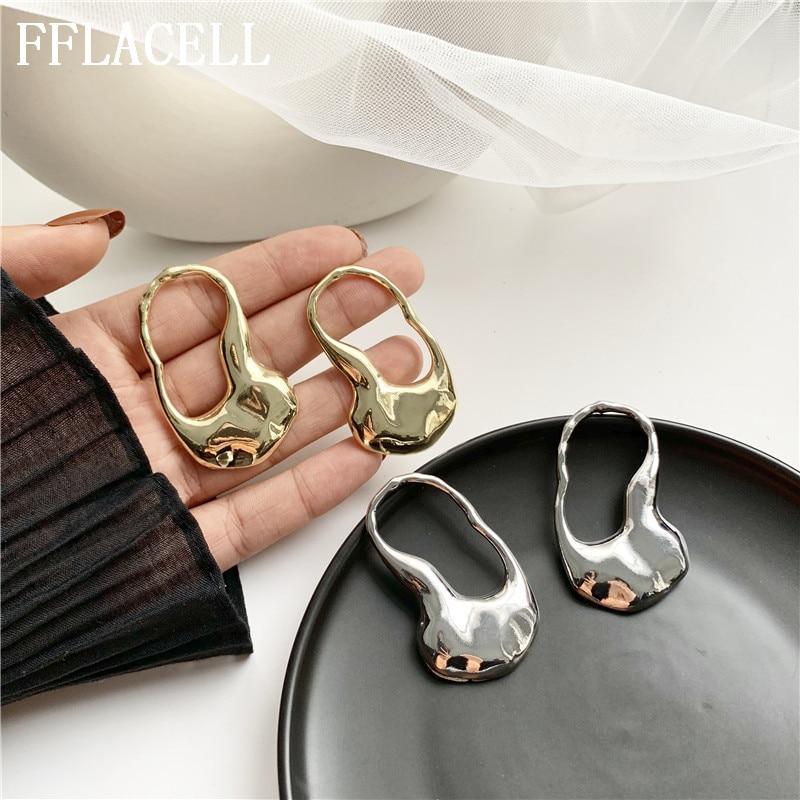 FFLACELL New Hot Metal Irregular Hollow Geometric Minimalism Gold Silver Plated Statement Hoop Earrings for Women Girls Jewelry|Drop Earrings|   - AliExpress