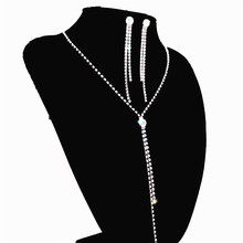Elegant and stylish rhinestone crystal water drop long woman necklace earring set wedding bride bridesmaid silver jewelry цена 2017