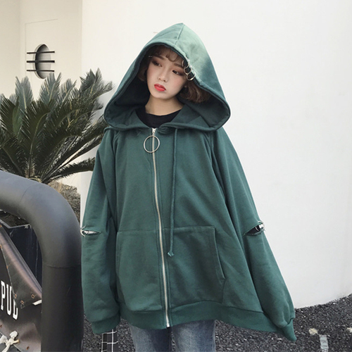 Zipper Hooded Cardigan Solid Pocket Loose Casual Street Ring 20291 New Arrival College Wind Female Women Long Sleeve Hoodies