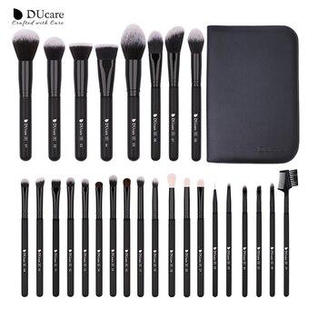 DUcare 27 uds, brochas de maquillaje, base en polvo, sombra de ojos, realce de contorno, brocha de cejas, juego de brochas de maquillaje de pelo Natural con estuche