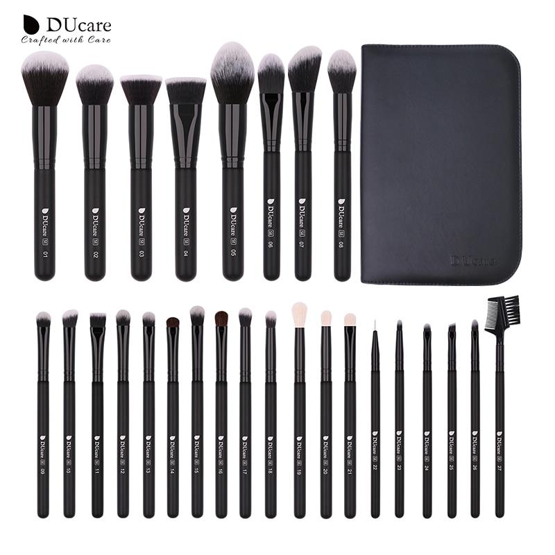 DUcare 27PCS Make up Brushes Foundation Powder Eyeshadow Highlight Contour Eyebrow Brush Natural Hair Makeup Brush set with Case
