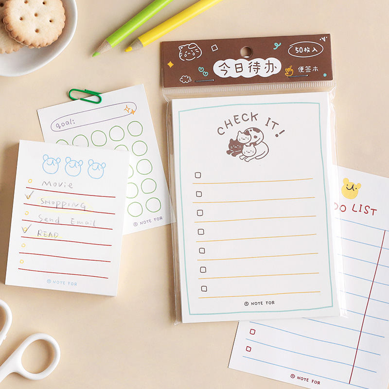 50 lub 100 arkuszy Kawaii Planner notatnik Do zrobienia lista tygodniowy Plan papiernicze śliczne notebook szkolne materiały biurowe akcesoria