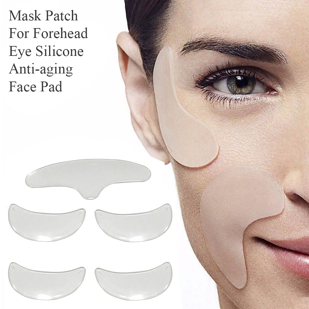 5pcs/set Silicone Anti-aging Face Pad Women Patch Tools Reusable Sticker Skin Care Prevent Wrinkle For Forehead Eye Remover Home