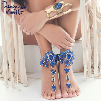 Dvacaman Brand 2016 New Unique Colorful Crystal Anklet Bracelet Women Long Big Foot Chain Gold Plated Maxi Anklets Jewelry S19