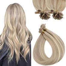 VeSunny U Shape Strands Tip Straight Hair Virgin Human Hair Extensions Pre Bonded Hair 1g/s Blonde Human Hair Extensions