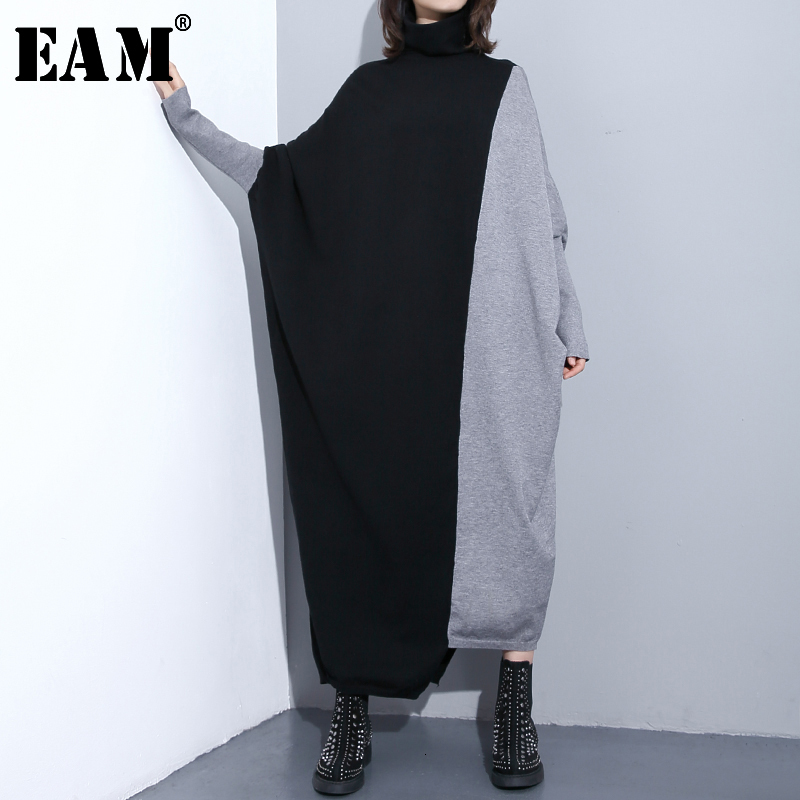 [EAM] Gray Split Oversized Long Knitting Sweater Loose Fit High Collar Long Sleeve Women New Fashion Spring Autumn 2020 JI952