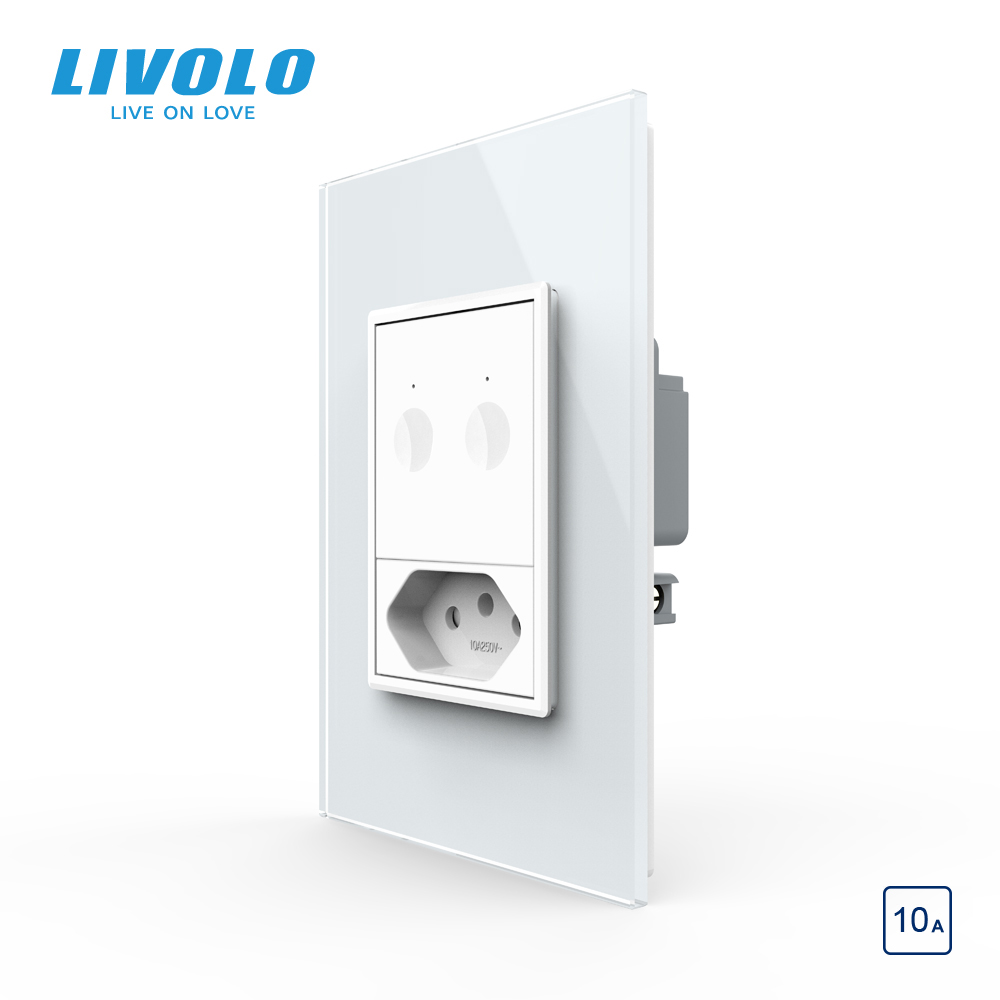 Livolo US AU Standard 67.5mm Wall Touch Switch,2Way Remote Control,white Crystal Glass,plastic Key,push Button,with Brazil Plug